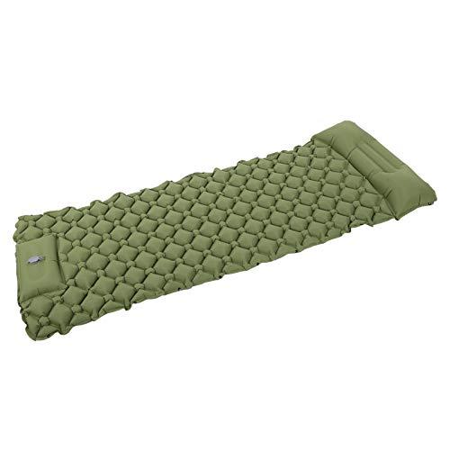 CHICIRIS Colchoneta para Dormir, Rejilla única Colchón de Aire de diseño Antideslizante para Acampar para Dormir al Aire Libre para Uso en Viajes(Armygreen)