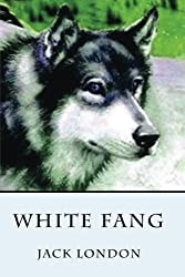 book cover for White Fang by Jack London, wolf with green forest background; books set in Canadian Rockies