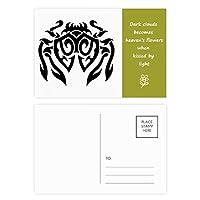 昆虫のクモがクモの巣のイラストブラック 詩のポストカードセットサンクスカード郵送側20個