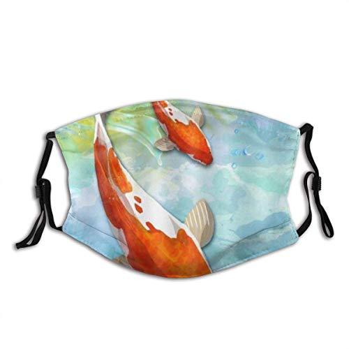 Elegante pez koi, natación Libre de Carpas, Agua Clara, SPA, a Prueba de Viento, anticontaminación, Protectores faciales, Bufanda, Cintas para la Cabeza Lavables y Reutilizables, para la Cabeza