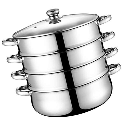 Cabilock Pentola a vapore a 4 animali, in acciaio inox, 11 pollici, pentola a vapore, pentola per zuppa, pentola, pentola per la cucina a casa