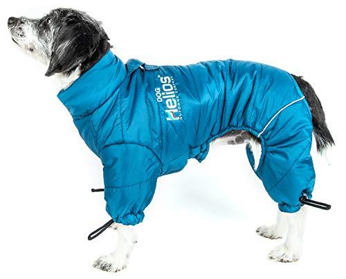 DOGHELIOS 'Thunder-Crackle' Full-Body Bodied Waded-Plush Adjustable and 3M Reflective Pet Dog Jacket Coat w/ Blackshark Technology, Small, Blue Wave