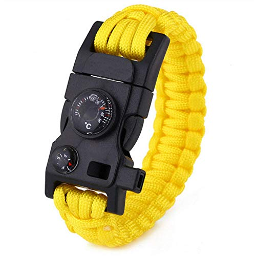 AHGAHG Survival Bracelet Multifunctional Military Emergency Camp Lifesaving Bracelet Escape Tactical Bracelet 15 in 1-yellow