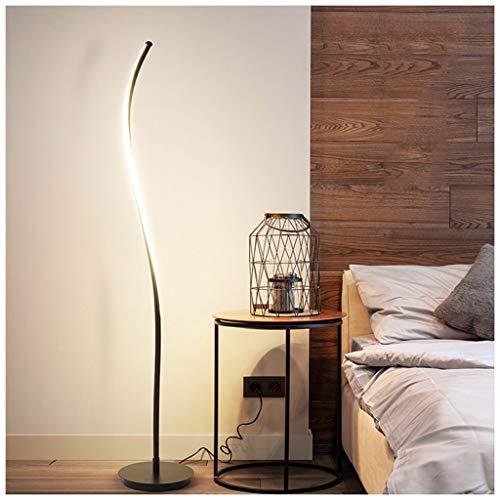 QTDH Moderne gebogen staande lamp, dimbaar, LED, modern design met schakelaar voor op kantoor in de hoeken.