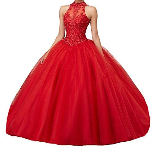 Generic JJL M?dchen Sweet 16 Quinceanera Kleider Sheer Neck Ballkleid Prinzessin Prom Kleider
