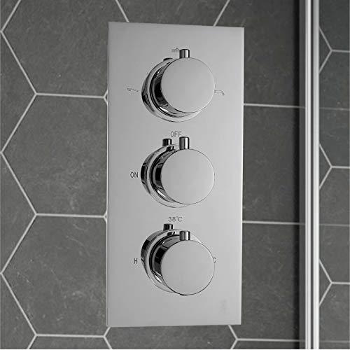 ENKI Miscelatore termostatico a incasso per doccia 3 manopole / 3 vie rotonda