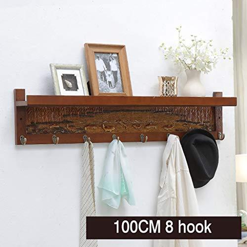Wall shelf Floating shelf wandrek wit drijvend wandrek met 4/6/7/8 haken boekenrek display-geheugen-rekken hoofddecoratie met kledinghaken, voor ingang, hal, slaapkamer, badkamer, woonkamer 100 cm bruin