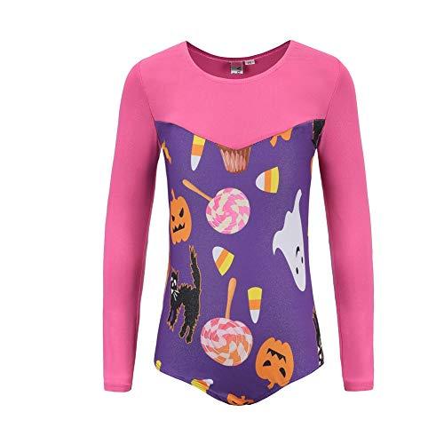 Gyratedream gymnastiekpak voor meisjes met lange mouwen voor gymnastiekmeisjes, Halloween, kerstpak, danskleding, 5-12 jaar oud