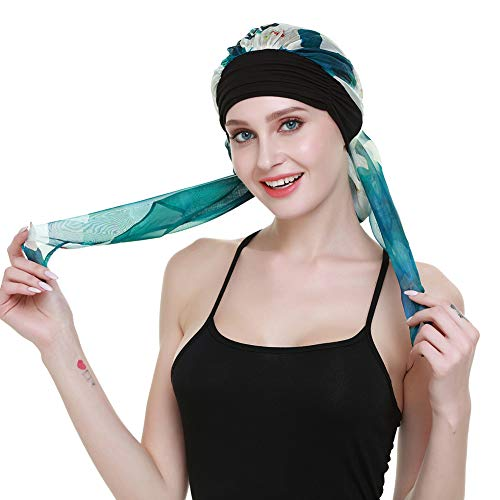 FocusCare Luxus - Frauen Kopftuch vor Chemo Hut mütze Schlaf mit Turban Kopfbedeckung für Krebs