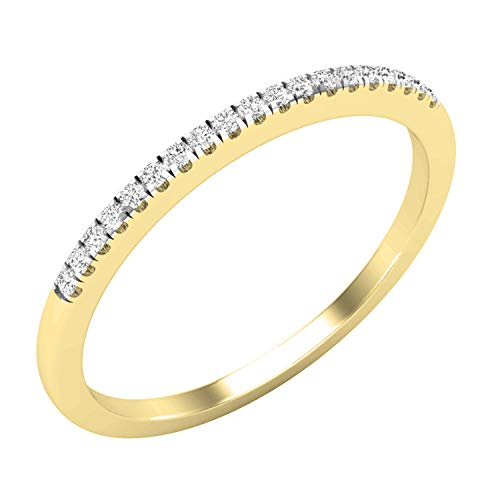 Dazzlingrock Collection 0.07 Carat (ctw) Round White Diamond Ladies Anniversary Stackable Wedding Band, 18K Yellow Gold, Size 7.5