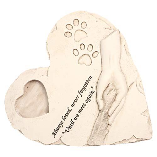 YARNOW Piedras Conmemorativas para Mascotas en Forma de Corazón Piedras Conmemorativas para Perros con Marco de Fotos Mascota Gato Memorial Exterior Interior para Jardín Lápidas del