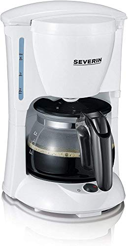 SEVERIN KA 4807 Cafetera para filtros de Café Molido, 4 tazas incluye jarra de cristal, blanco/negro