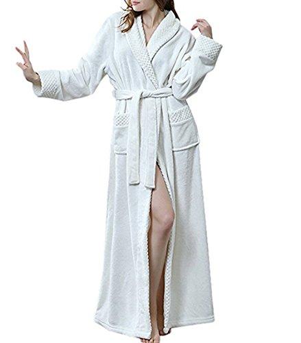 Damen Bademantel Morgenmantel Saunamantel Flausch Relax Kuschel Microfaser weiß