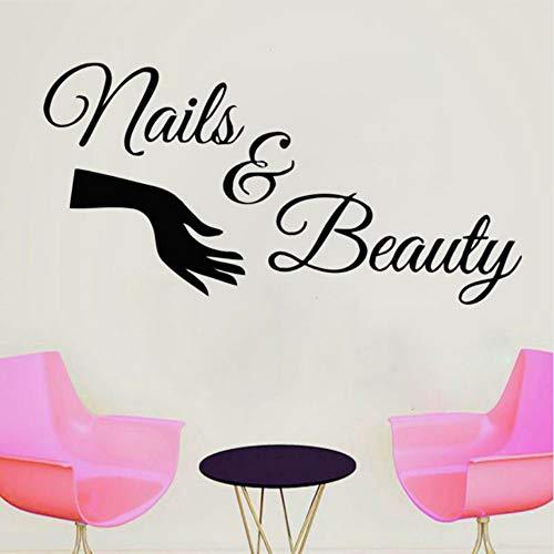 Ayhuir Ongles Salon Mur Fenêtre Decal Vinyle Autocollant Citation Ongles Nail Art Polonais Manucure Pédicure Beauté Salon Décoration 57X113Cm