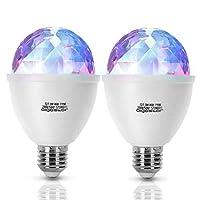 【Wunderbarer Lichteffekt】Mit dem RGB LED Diskokugel könenn Sie die bunten und erstaunlichen Lichteffekte genießen, die durch die 360°automatische Drehung wunderbare Wirkungen erzielt. 【Einfach zu installieren.】Für alle gängigen Lampen mit E27 Lampenf...