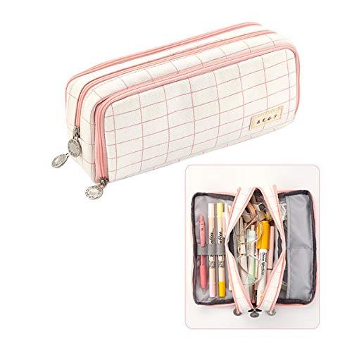 iSuperb Federmäppchen Studenten Mäppchen Große Kapazität Pencil Case Teenager Mäppchen Reißverschluss Frauen Make-up Tasche für Schule & Büro Damen Mädchen (Plaid Pink C)