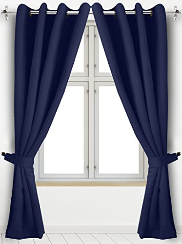 Utopia Bedding 2 Panels Grommet Blackout Curtains with 2 Tie Backs, Thermal Insulated for Bedroom, W52 x L84 Inches, Navy