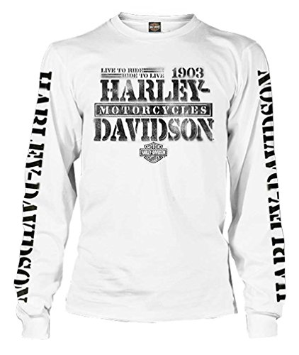 Harley-Davidson Men's Distressed Freedom Fighter Long Sleeve Shirt, White (3XL)