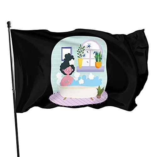 DRXX Stay at Home Mujer Joven relajándose en la bañera con Plantas en macetas Bandera Decorativa al Aire Libre de 3 x 5 pies, fácil de Instalar, Duradera y sin Colores