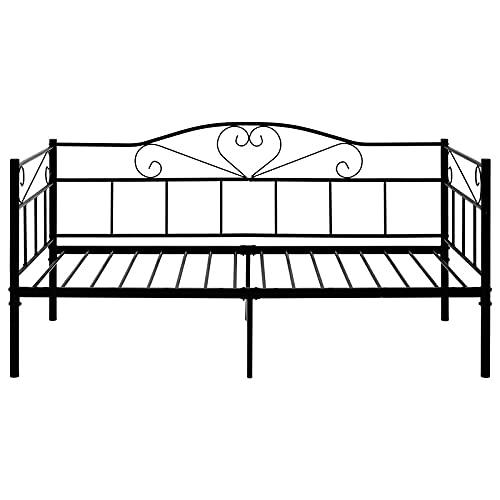 SUSIELADY - Letto singolo in metallo, 90 x 190 cm, per adulti e ragazzi, divano letto per camera da letto, soggiorno, colore: nero