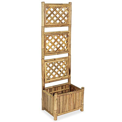 Wood Trellis Planter, Outdoor Garden Weather-Resistant Plant Rack with Trellis Weather-resistant Durable Plant Stand Flower Rack with Trellis 40 x 30 x 135 cm (W x D x H) Bamboo
