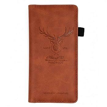 Menesia Checkbook Cover for Men & Women RFID Leather Check Book Holder Wallet Brown Deer