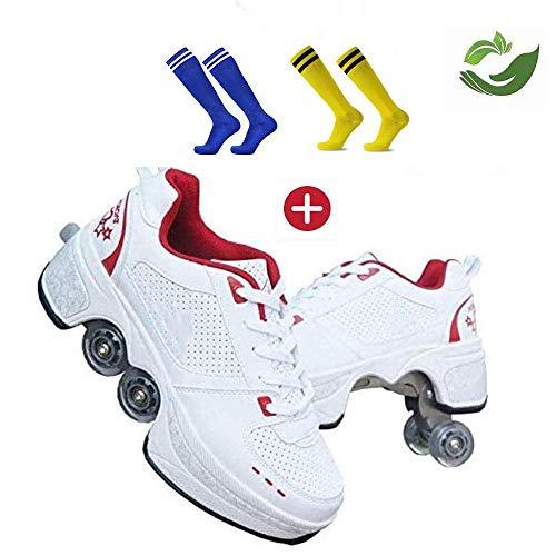 GWYX Roller Skates, Skating-Schuhe Für Männer Und Frauen Automatische Wanderschuhe Für Erwachsene Unsichtbare Riemenscheibenschuhe Skates Mit Zweireihigem Deform-Rad,Red-39