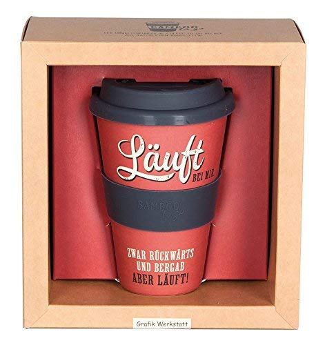 Grafik Werkstatt Becher mit Deckel | Kaffee-Tasse | Coffee 400 ml | -to-go | Läuft bei mir, beige, 9 x 9.5 x 14 cm
