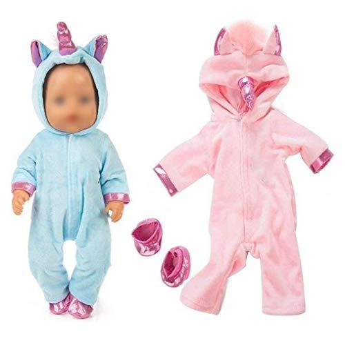 DierCosy Tools Baby-Puppen-Kleidung stellt, Netter Jumpsuit Pyjama mit 2 Schuhe für 18 Zoll New Born Baby Puppen 2Pcs / Set (Rosa + Blau)