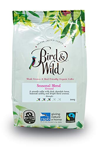 Bird and Wild Seasonal Medium Roast Ground Coffee ? 200 Grams - Fairtrade, Organic, Shade Grown and Bird Friendly - Strength 3 ? Percentage of Sales Donated to RSPB