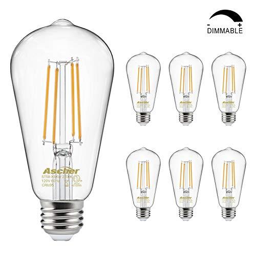 Dimmable Vintage LED Edison Bulbs 60 Watt Equivalent, Eye Protection Led Bulb with 95+ CRI, Warm White 2700K, ST58 Antique LED Filament Bulbs, E26 Medium Base, Pack of 6
