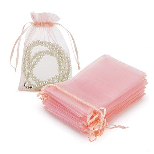 HRX Package 100pcs Blush Pink Organza Gift Bags, 4 x 6 inch Candy Mesh Drawstring Bags Jewelry Pouches for Christmas Wedding Baby Shower Party