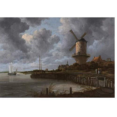 Windmolen In Het Veld Schilderijen Aan De Muur Nederlandse Gouden Eeuw Muur Canvas Prints Landschap Foto's Voor Woonkamer -60x90cmx1pcs- Geen Frame