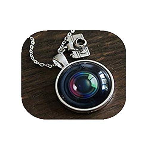 Youkeshan Collar de lente de cámara – Fotógrafo plata cámara fotografía encanto vintage lente colgante