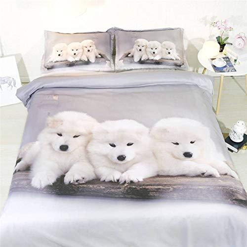 Aaooseso® Tröster setzt Decke, 3D Individuell Weißer Tierhund Bettwäsche, Ganzjahres-Steppbettdecke für Kinder, Jungen, Mädchen, Teenager, Kinder - Enthält 1 Bettdecke, 2 Kissen 135 x 200 cm Jungenbe