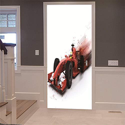 Deurstickers, 3D, renovatie, behang, vintage, deur van hout, voor auto, racefiets, huisdecoratie, deur, afneembaar, zelfklevend 77x200cm