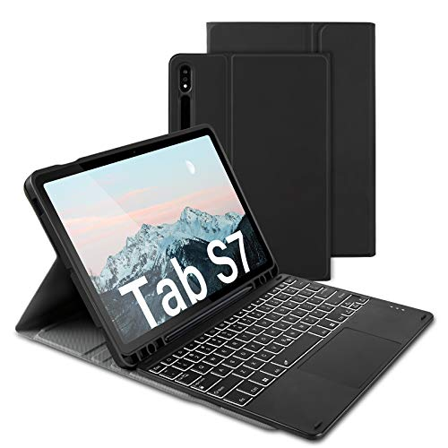 """Bluetooth Backlit Keyboard Case with Trackpad for Samsung Galaxy Tab S7 11"""" 2020 (SM-T870/T875/T878), Rechargeable Keybaord Touch with 7-Color Backlight & Protective Case with S Pen Holder, Black"""