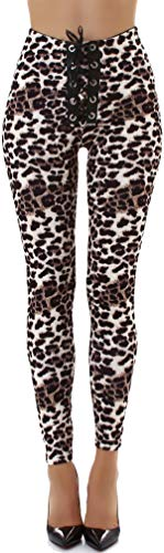 Jela London Damen Leoparden Leggings Kunst-Leder Hose Wetlook Treggings Schnürung High-Waist Hoher Bund Clubwear, 36 38 (M)