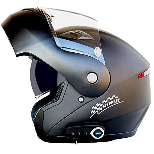 JLLXXG Casco Modular con Bluetooth, Casco abatible Frontal para Motocicleta, Casco con Bluetooth, Moto Ligera, Scooter, Calle, accidente de Bicicleta para jóvenes, Hombres, Mujeres