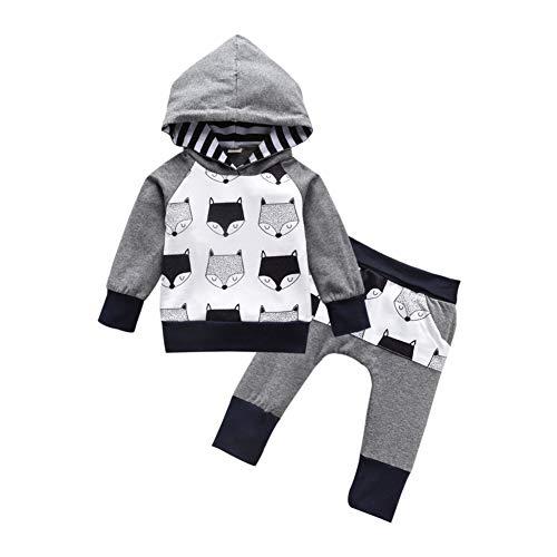 Baby Jongen Meisje Outfit Sets Lange Mouw Vos Print Hooded Sweatshirt + Broek Legging Kleding SetFall Winter Unisex Babykleding