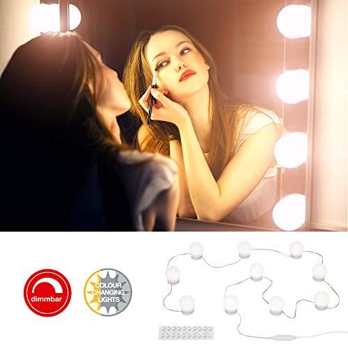 Briloner Leuchten - LED Spiegelleuchte, Spiegellampe dimmbar, 10-flammig, Farbtemperatursteuerung, inkl. USB Kabel, inkl. Klebepads, max. 6 Watt, 600 Lumen, Weiß, 4.000mm (L)