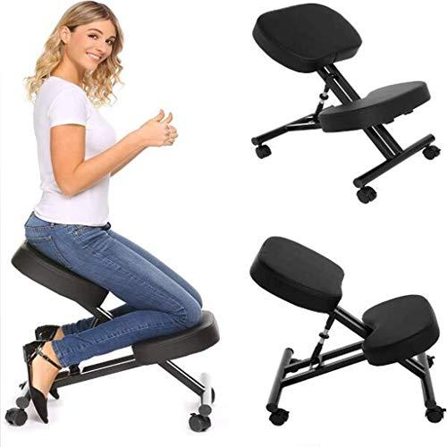 DLC Fitnessgeräte, Aerobic-Übungen, Abnehmen, Ergonomischer Stuhl, Kniestuhl Verstellbarer Beweglicher Kniestuhl, Computer-Haltungsstuhl, Freizeit-Fitnessstuhl Yoga-Stuhl,Schwarz