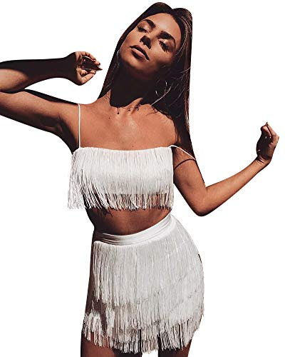 Womens Sexy 2 Piece Outfits Sleeveless Crop Top Feather Tassels Bodycon Mini Dress Outfits Clubwear White