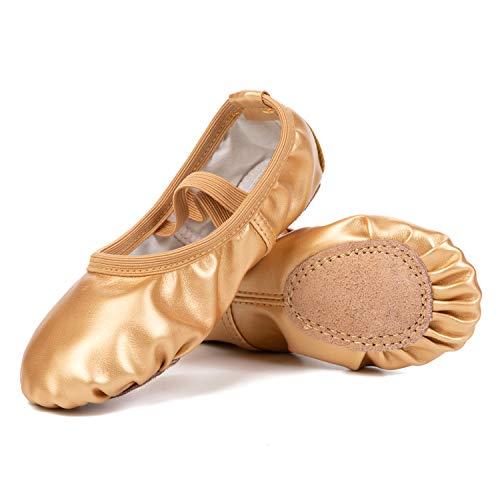 L-Run Damen Ballettschuhe Split-Sole Canvas Dance Gymnastik Yoga Schuhe Wohnungen Schwarz, EU 27