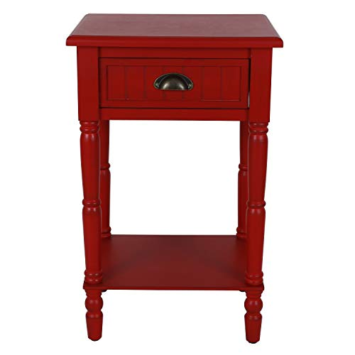 Décor Therapy Bailey Bead board 1-Drawer Accent Table, 14x17x26.5, Antique Red