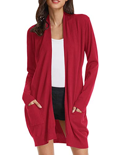 Solid Soft Stretch Longline Long Sleeve Open Front Cardigan(S,Bright Red)
