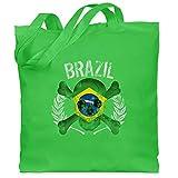 Shirtracer Fußball-Europameisterschaft 2020 - Brasilien WM Totenkopf Brazil - Unisize - Hellgrün - Flagge - WM101 - Stoffbeutel aus Baumwolle Jutebeutel lange Henkel