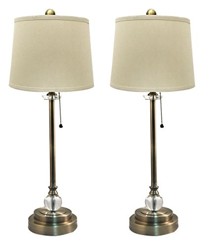 "Royal Designs LS-1001AB-2 Buffet Lamps in Antique Brass with Linen Cream Hardback Lamp Shades - 27"" Tall - Set of 2"