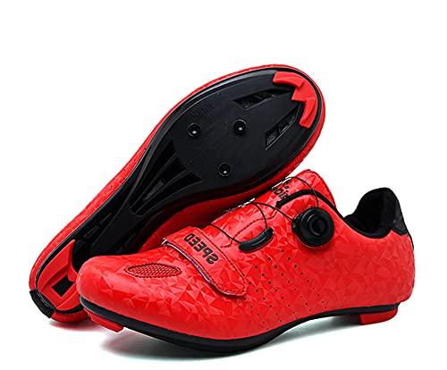 Uhclrr Zapatos De Ciclismo Hombres Transpirable Microfibra Bicicleta Zapatos(42, Red)