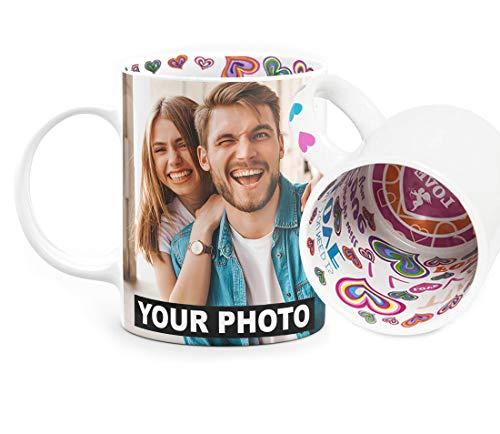 Fototasse mit Herzmotiv Tasse mit eigenem Foto & Text selbst gestalten Geschenk zum Valentinstag - Herzen I Love You Tiamo im Inneren des Kaffeebechers und am Henkel, Love [117]